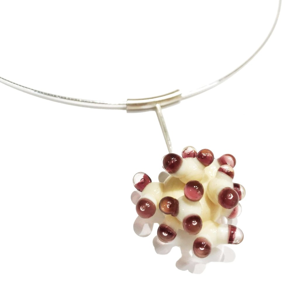 White and Purple Anemone Pendant Necklace