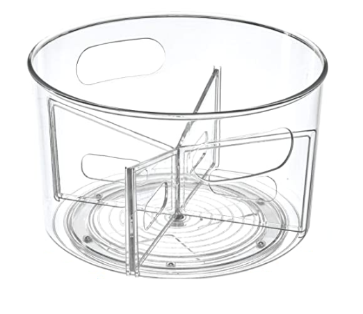 "Collection Linus - Plateau tournant en plastique transparent 10.5"" x 6.4''"