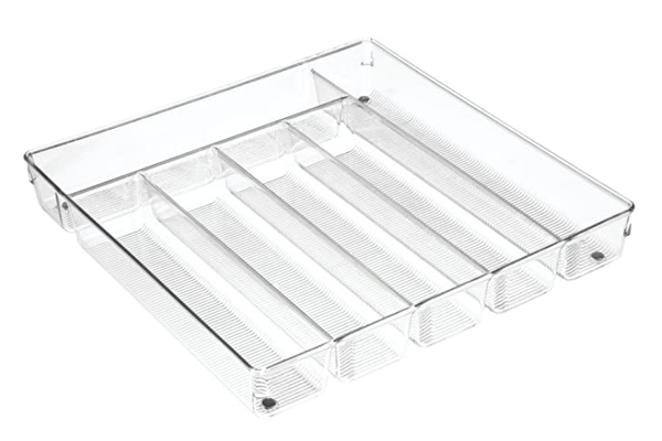 Collection Linus - Organisateur à coutellerie plastique transparent 13.5'' x 13.8'' x 2""