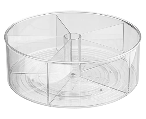 "Collection Linus - Plateau tournant en plastique transparent 11.5"" x 4.5''"