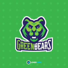 Load image into Gallery viewer, Green Bear-Mascot Logos-LogoHive
