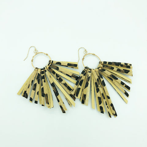 Leopard Print Fringe Earrings jewelry