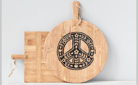 boho signature pizza board reclaimed pine wood peace sign bread cheese or fruit casual gatherings vegan charcuterie spread