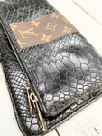 Dana Upcycled Black Embossed Leather Bag/Clutch