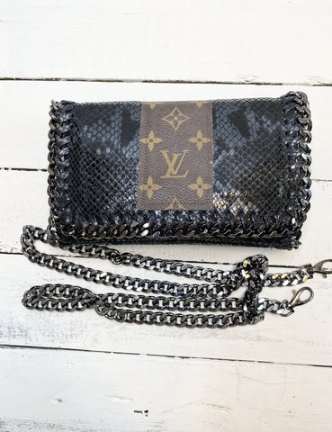 Kelly Chain Upcycled Embellished Black Snake Bag