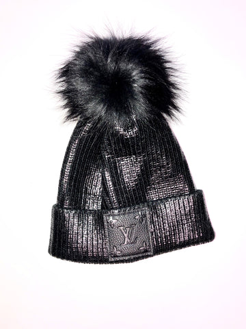 Luxe Fur Upcycled Metallic Black Pom Beanie