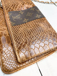 Dana Upcycled Brown Embossed Leather Bag/Clutch