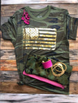 Texas True Threads T-shirt - Camo Gold Foil Flag