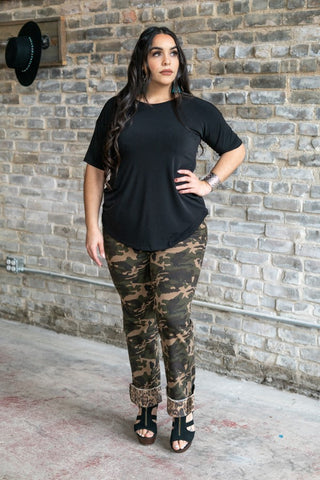 Mid Rise Relaxed Fit Camo Denim with Leopard Cuff Plus Size