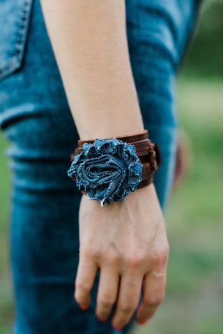 Distressed Flower Cuff
