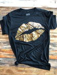 Texas True Threads T-shirt - Black Leopard Foil Lips