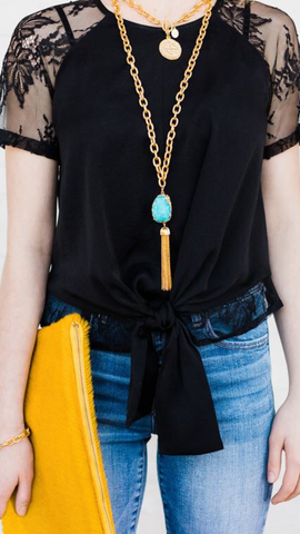 Susan Shaw Aqua Druzy Quartz on Gold Chain with Tassel Necklace