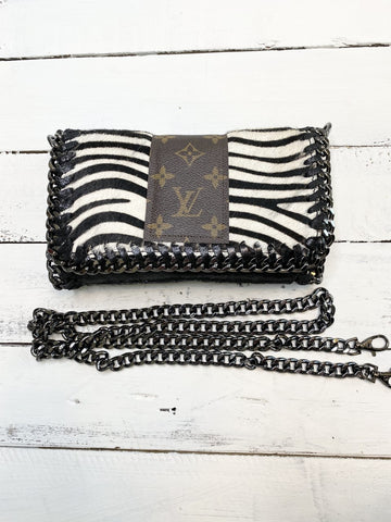 Kelly Chain Upcycled Zebra Cowhide Bag