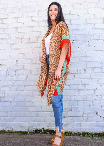 Kimono Leopard with Color Block Stripe - Brown