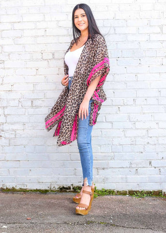Kimono Leopard Print with Accent Color Stripe - Hot Pink
