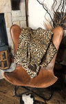 Upcycled Luxe Leopard Throw With LV Patch
