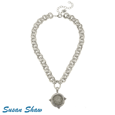 Susan Shaw Silver Vintage Indian Head Coin Necklace