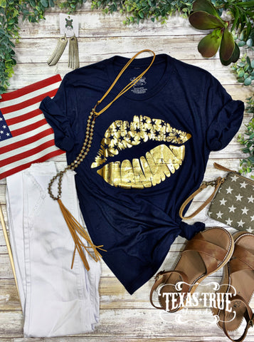 Texas True Threads V-Neck T-Shirt Gold Foil Patriotic Lips