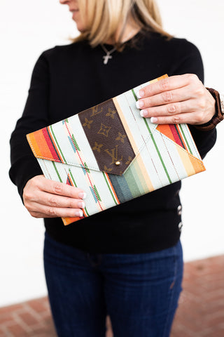 Upcycled Envelope Clutch - Mint Southwest
