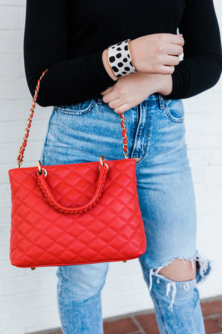 Red Quilted Medium Bag