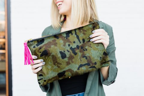 Ryann Camo Zipper Clutch