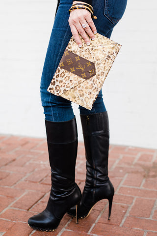 Upcycled Envelope Clutch - Leopard