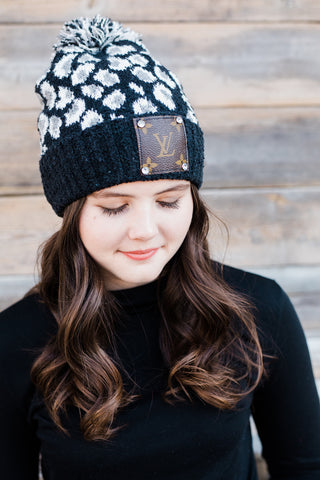 Upcycled Pom Beanie - Black