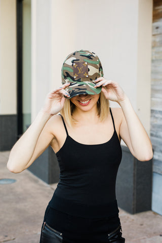 Upcycled Camo Ponytail Baseball Hat