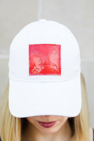 Limited Edition White Baseball Cap with Red LV Patch