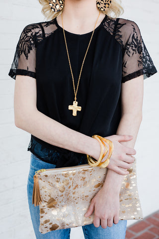 Susan Shaw Cross Long Chain Necklace