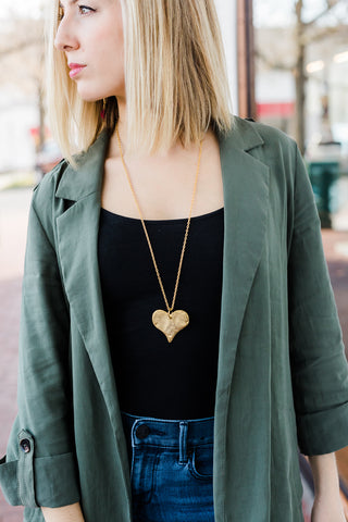 Susan Shaw Long Chain Heart Necklace