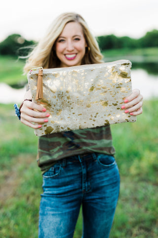 Gold Speckled Zipper Clutch