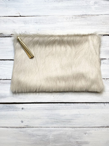 White Calf Hair Zipper Clutch