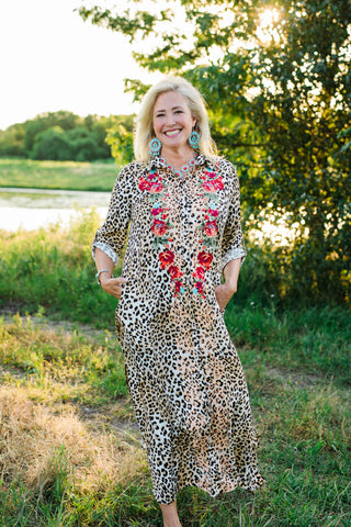 Leopard Maxi Shirt Dress