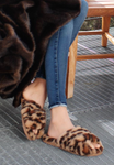 faux leopard non-skid slippers house shoes cozy comfey
