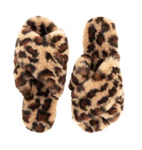 Faux Fur Slippers - Leopard