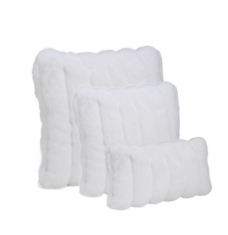 White Mink Faux Fur Pillows