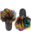 COLORFUL FUR SANDALS SLIDES
