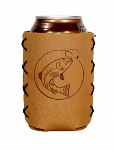 handmade leather doozie leather can sleeve Oowee Products autism autistic fathers day gift valentines day mens gift fisherman fish