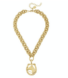 Susan Shaw Gold Horseshoe Necklace