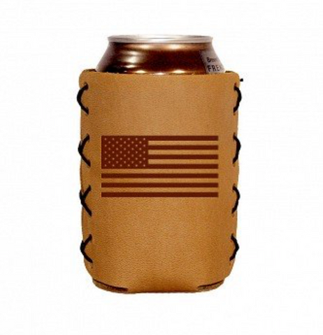 handmade leather doozie leather can sleeve Oowee Products autism autistic fathers day gift valentines day mens gift American flag