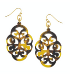 Susan Shaw Gold and Tortoise Oval Cut Out Earrings