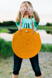 Orange Large Round Raffia Bag