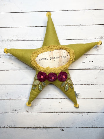 Merry Christmas Star Pillow