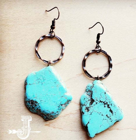 Jewelry Junkie Blue Turquoise Chunky Earrings