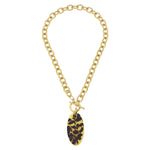 Susan Shaw Tortoise Oval Toggle Necklace