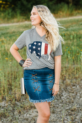 Texas True Threads T-Shirt - Buffalo Flag 1776