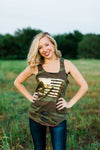 Texas True Threads Tank - Camo Gold Foil Flag