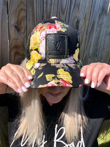 Floral Baseball Hat with Upcycled Black Patch/Yellow Stitching