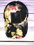 Upcycled Floral Black Baseball Hat